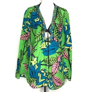 Hale Bob Cabana Green Coverup Tunic Top A140352